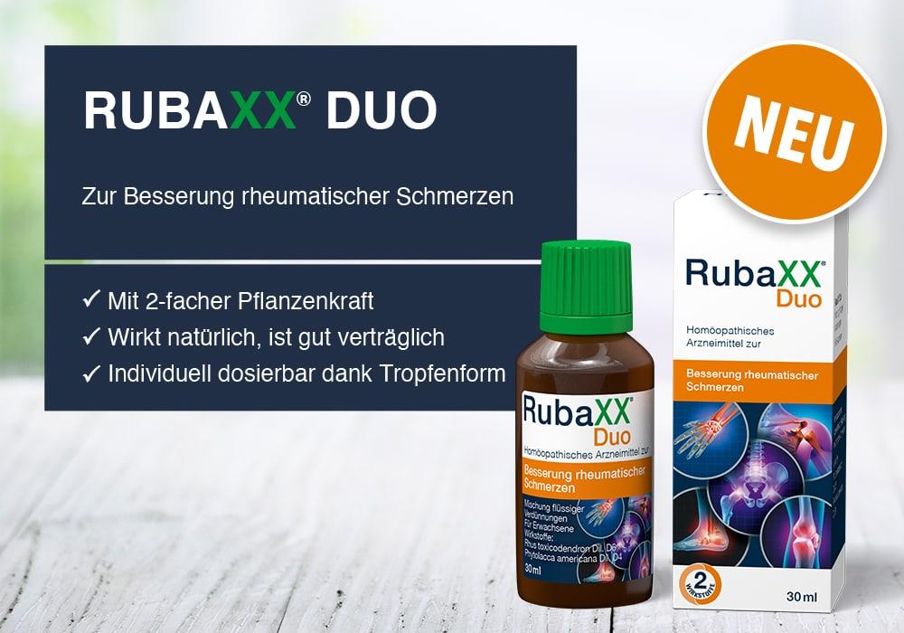 RubaXX DUO - Zur Besserung rheumatischer Schmerzen. Mit 2-facher Pflanzenkraft. Wirkt natürlich, ist gut verträglich. Individuell dosierbar dank Tropfenform