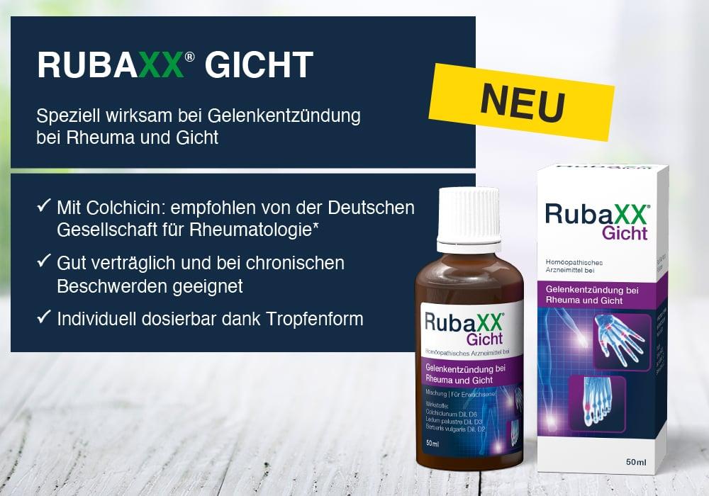 RubaXX® Gicht – Speziell wirksam bei Gelenkentzündung bei Rheuma und Gicht